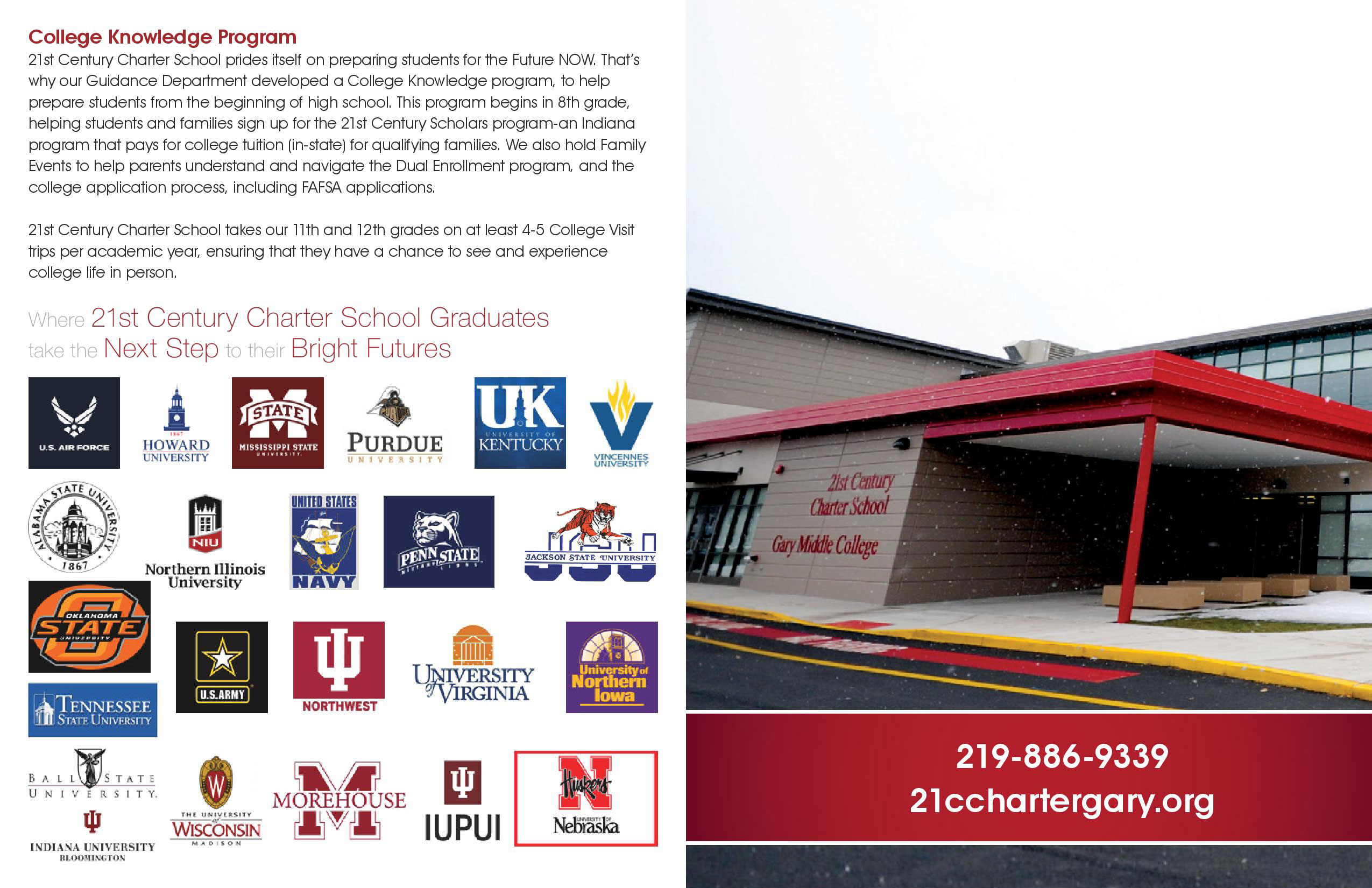 College Knowledge Program - 21st Century Charter School prides itself on preparing students for the future NOW.